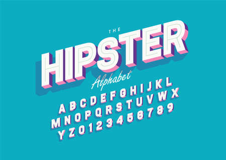 Vector of stylized hipster font and alphabet 일러스트