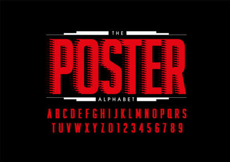 Vector of stylized poster font and alphabet