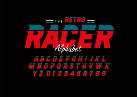 Vector of stylized retro font and alphabet