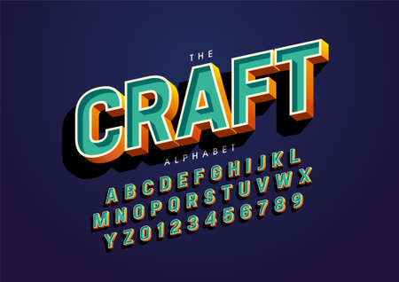 Vector of stylized handcrafted font and alphabet Иллюстрация
