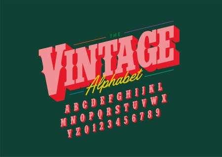 Vector of stylized vintage font alphabet
