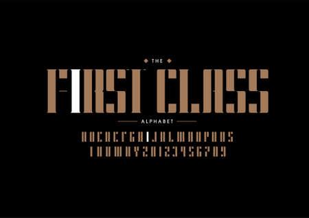 Stylized first class alphabet font vector Illusztráció