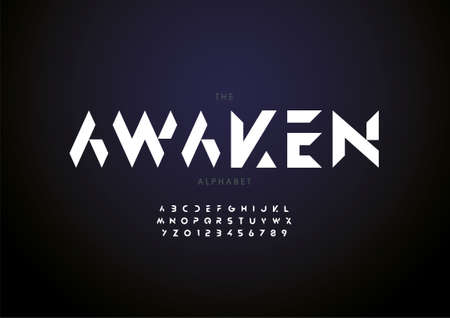 Vector of stylized awaken alphabet and font