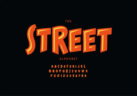 Vector of stylized street alphabet and font