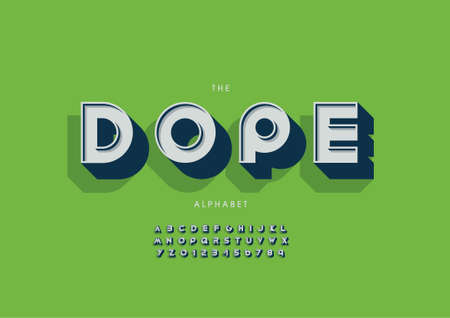 Vector of stylized dope alphabet and font