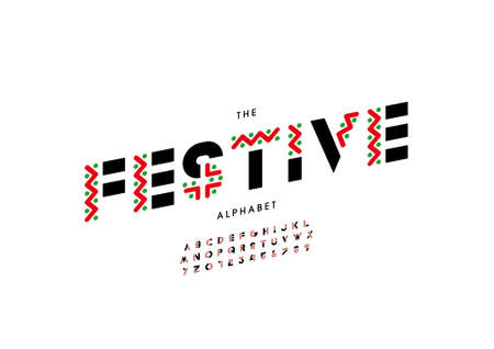 Vector of stylized festive alphabet and font