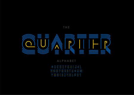 Vector of stylized quarter alphabet and font Иллюстрация