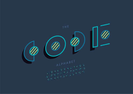 Vector of stylized code alphabet and font