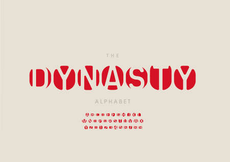 Vector of stylized dynasty alphabet and font