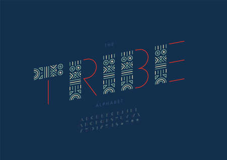 Vector of stylized tribe alphabet and font