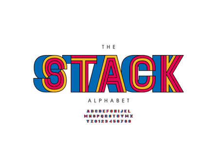 Vector of stylized stack alphabet and font