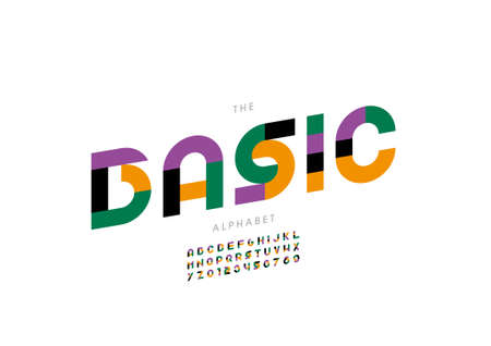 Vector of stylized basic alphabet and font Иллюстрация