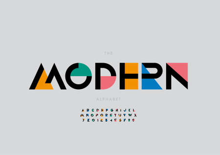 Vector of stylized modern alphabet and font