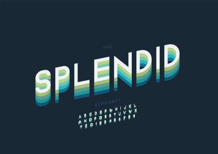 Vector of stylized splendid alphabet and font Иллюстрация