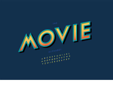Vector of stylized movie alphabet and font