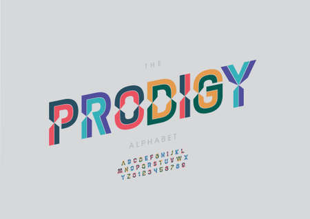 Vector of stylized prodigy alphabet and font