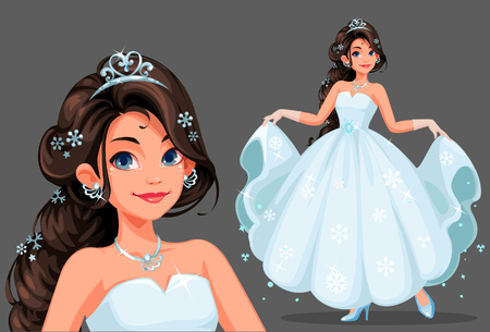 Beautiful cute princess with long braided hairstyle holding her long white dress vector illustration Ilustração