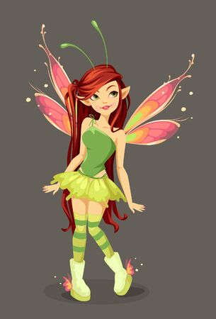 Beautiful butterfly Fairy standing vector illustration Illustration