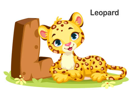 Wooden textured bold font alphabet L, L for Leopard