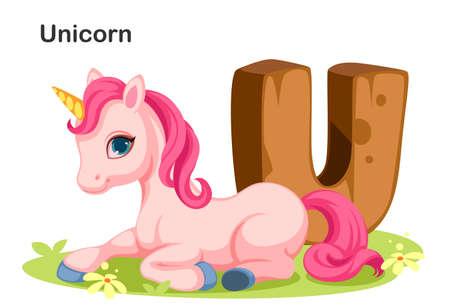 Wooden textured bold font alphabet U, U for Unicorn