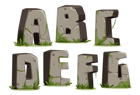Jungle font Part 1 Vector Illustration