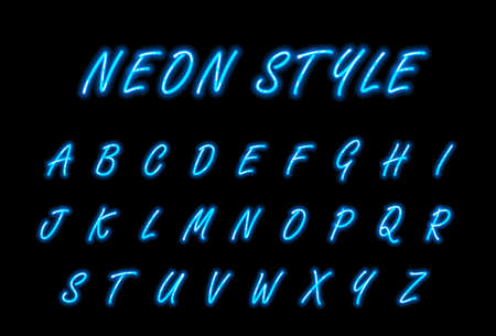 Neon alphabet font in blue