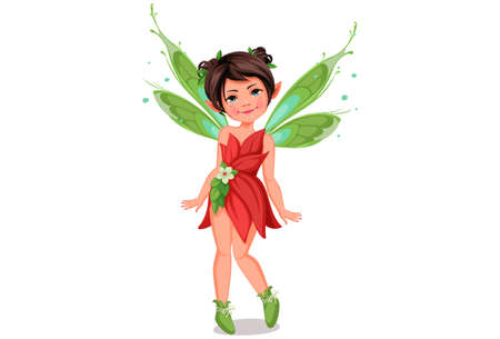 Cute little fairy in standing pose vector illustration