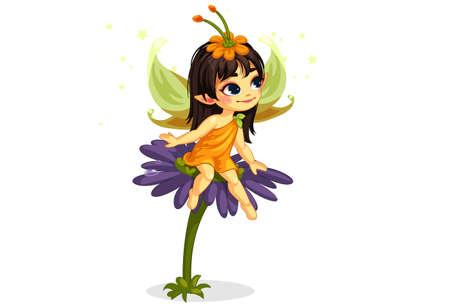 beautiful little fairy sitting on the flower Illustration