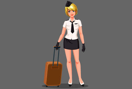 Beautiful air hostess with suitcase vector illustration Vectores