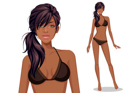 Beautiful american African fashion model Illustration