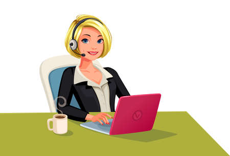 Business women on call happy smiling face vector illustration