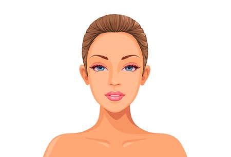 Beautiful women face ready for makeup game art vector