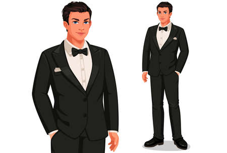 Groom in standing position vector illustration