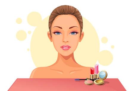 Beautiful Model face with makeup kit