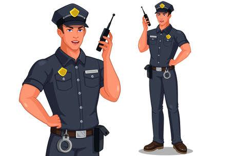 Police officer in standing pose talking on walkie-talkie radio vector illustration Vettoriali
