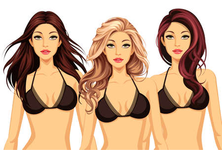 Set of three cool hairstyles with beautiful model Illustration