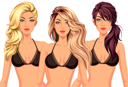 Set of three cool hairstyles with beautiful stylish model