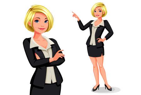 Smart blonde business women vector illustration