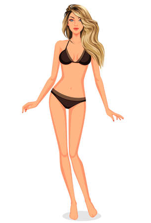 Stylish beautiful blonde model standing posing for dress up