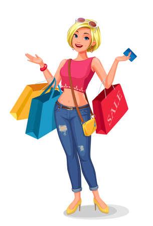 Girl enjoying shopping vector illustration