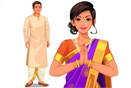 Illustration of Indian couple in Indian traditional dress Ilustración de vector