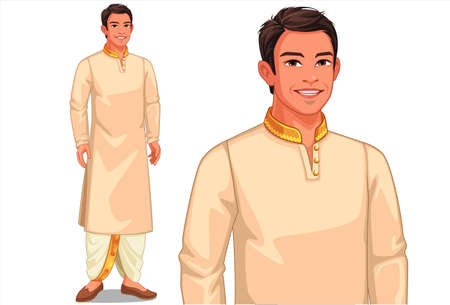 Illustration of Indian man with traditional outfit Ilustración de vector