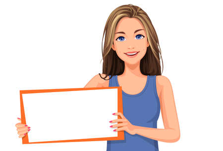 Vector illustration of beautiful teenage girl holding a blank board