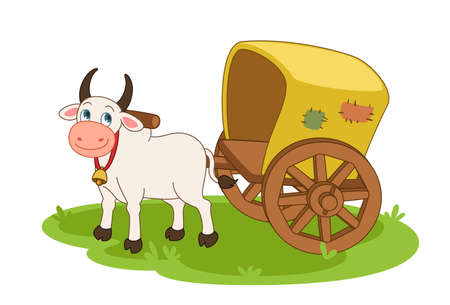 Bullock cart cartoon vector illustration