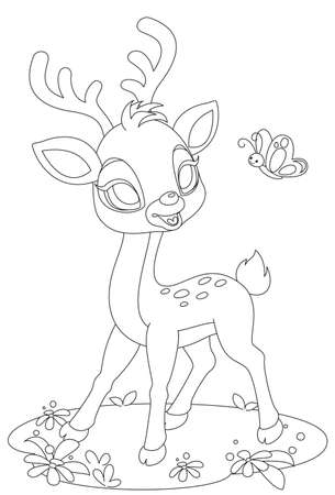 Cute baby deer looking at butterfly drawing to color
