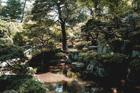Traditional Japanese Garden Kenrokuen in Kanazawa Japan Фото со стока