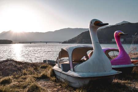 Abandoned old theme park swan boats in Kawaguchiko in Japan