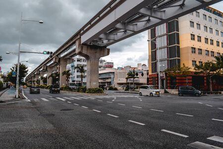 Monorail tracks over a road in Naha Okinawa Japan Reklamní fotografie
