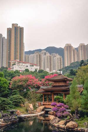 Wooden pavilion in the Nan Lian Garden in Hong Kong