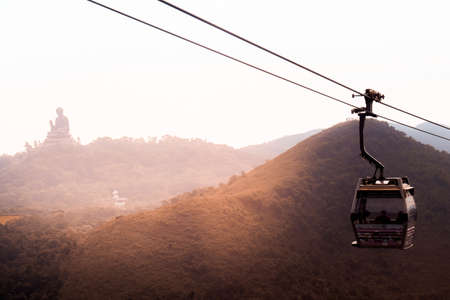 Cable car to Ngong Ping in Hong Kong with the Tian Tan Buddha in the background